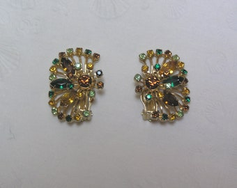 Vintage Rhinestone Marquis Cut and Round Multi Colored Flower clip Earrings