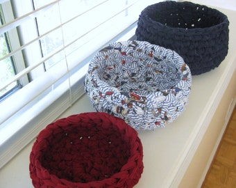 Crocheted Nesting Rag Baskets - Dark Red, Navy and White - Crochet Rag Bowls - Red, White and Blue - Nesting Bowls - Recycled - Ecofriendly