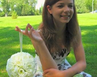 Wedding flower ball, White rose pomander, Flower girl kissing ball, Wedding decorations