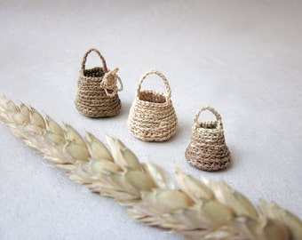 Miniature elf's baskets ,set of three, kitchen decor