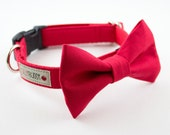 Solid Bright Red Dog Bowtie Collar