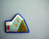 OOAK Embroidered Felt Brooch / House with snowy roof and a Christmas tree
