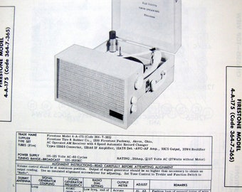 1958 Firestone Phonograph Turntable Portable Record Player Photo Repair Manual