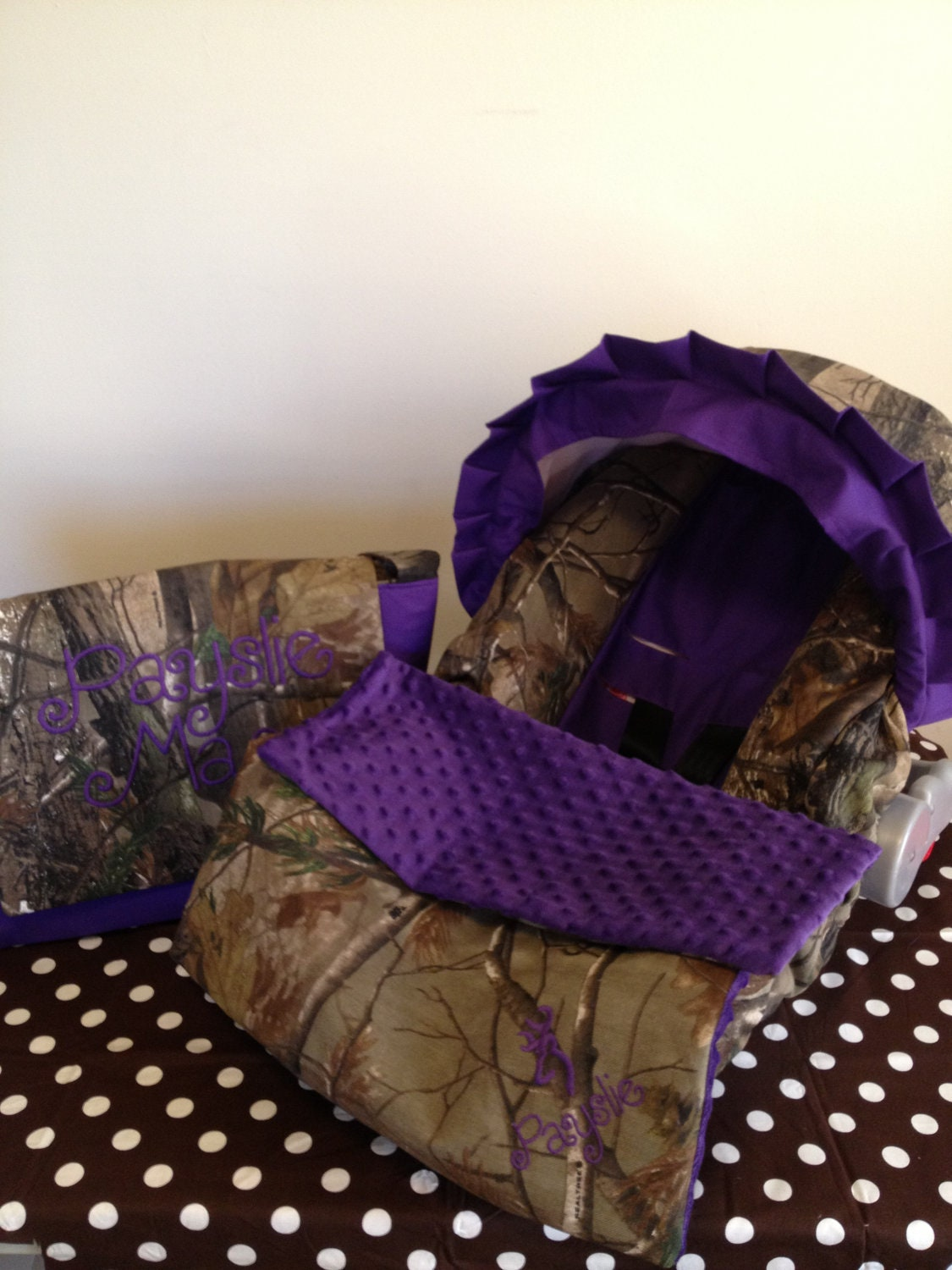 3 Piece Set Purple And Realtree Camo Fabric Infant Car Seat