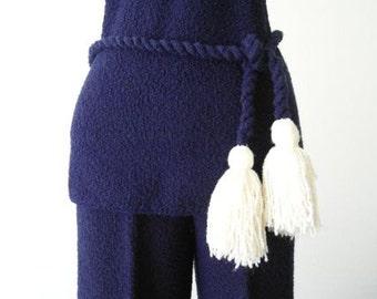 SALE 70's ST JOHN Suit Designer Vintage Nautical Mod Blue Ivory