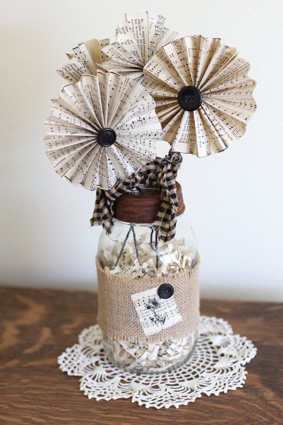 """Shabby Chic Burlap and """"Songbook"""" Flower Bouquet"""