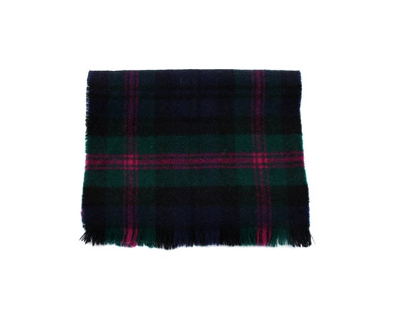 Vintage PLAID Wool Scarf Made in Scotland