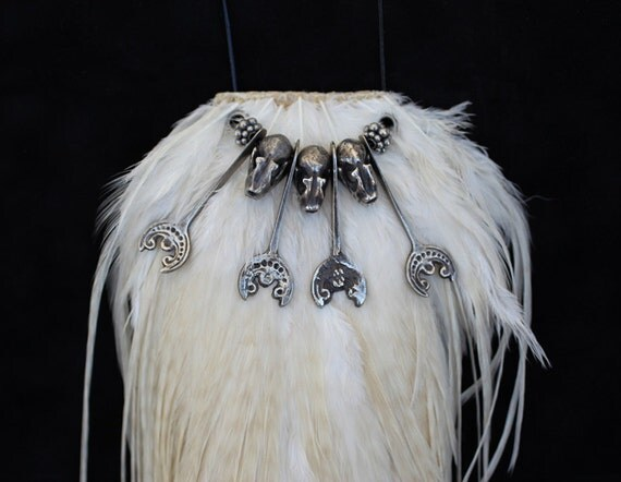 Pewter Bat Skull Necklace on White Feather Pelt