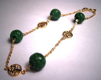 Antique Vintage Carved Jade Bracelet 14K Gold Chinese
