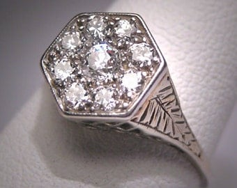 Antique Diamond Wedding Ring Vintage Art Deco White Gold Engagement 2CT Look