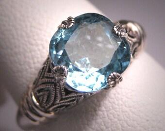 Vintage Aquamarine Ring Estate Art Deco Engagement Band
