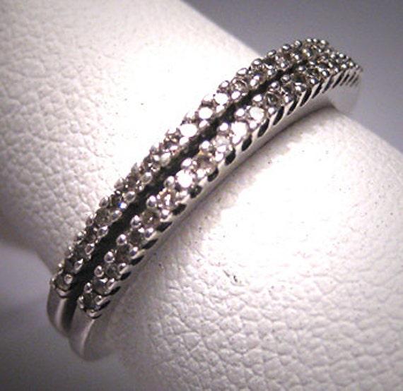 Two Vintage Diamond Wedding Band Set Bridal Guard Ring