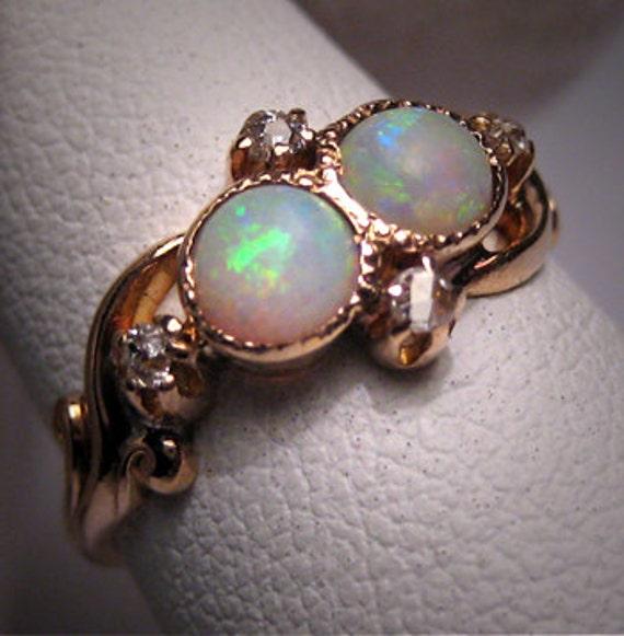 Antique Opal Diamond Ring Vintage Victorian Wedding Gold
