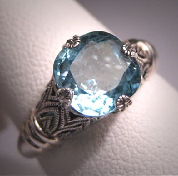 Vintage Aquamarine Ring Estate Art Deco Engagement Band
