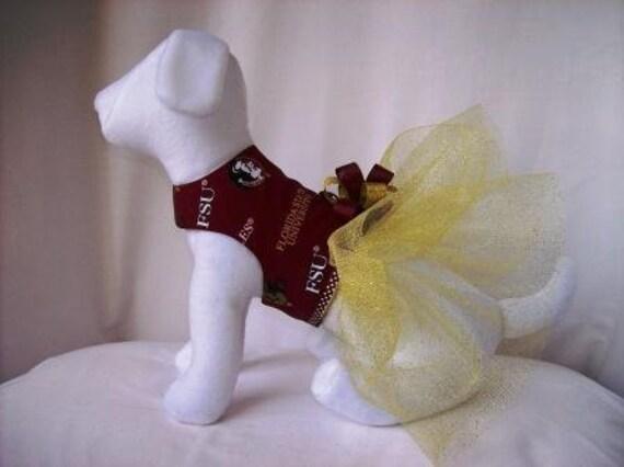 Florida State Seminoles FSU Dog Dress With Glitter Tutu Skirt Size XSMALL