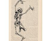 DANCING SKELETON - dictionary art print halloween decorations