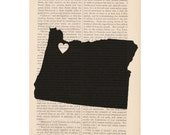 custom state art print dictionary art - Heart in OREGON - custom state decor book page print