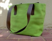 50% OFF, Green women handbag, green canvas fabric bag, laptop handbag, gift for her