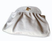 Ivory leather clutch, wedding purse, women clutch, ready to ship, bridal accessories