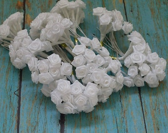 Artificial Flowers - One Lot of 144 Tiny Little Pure White Ribbon Roses - VERY SMALL FLOWERS