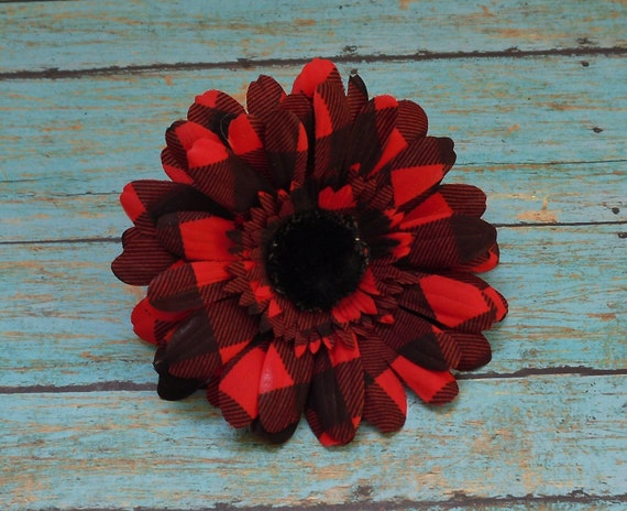 Silk Flowers - One Black and Red Plaid Gerber Daisy - Artificial Flower Blossoms