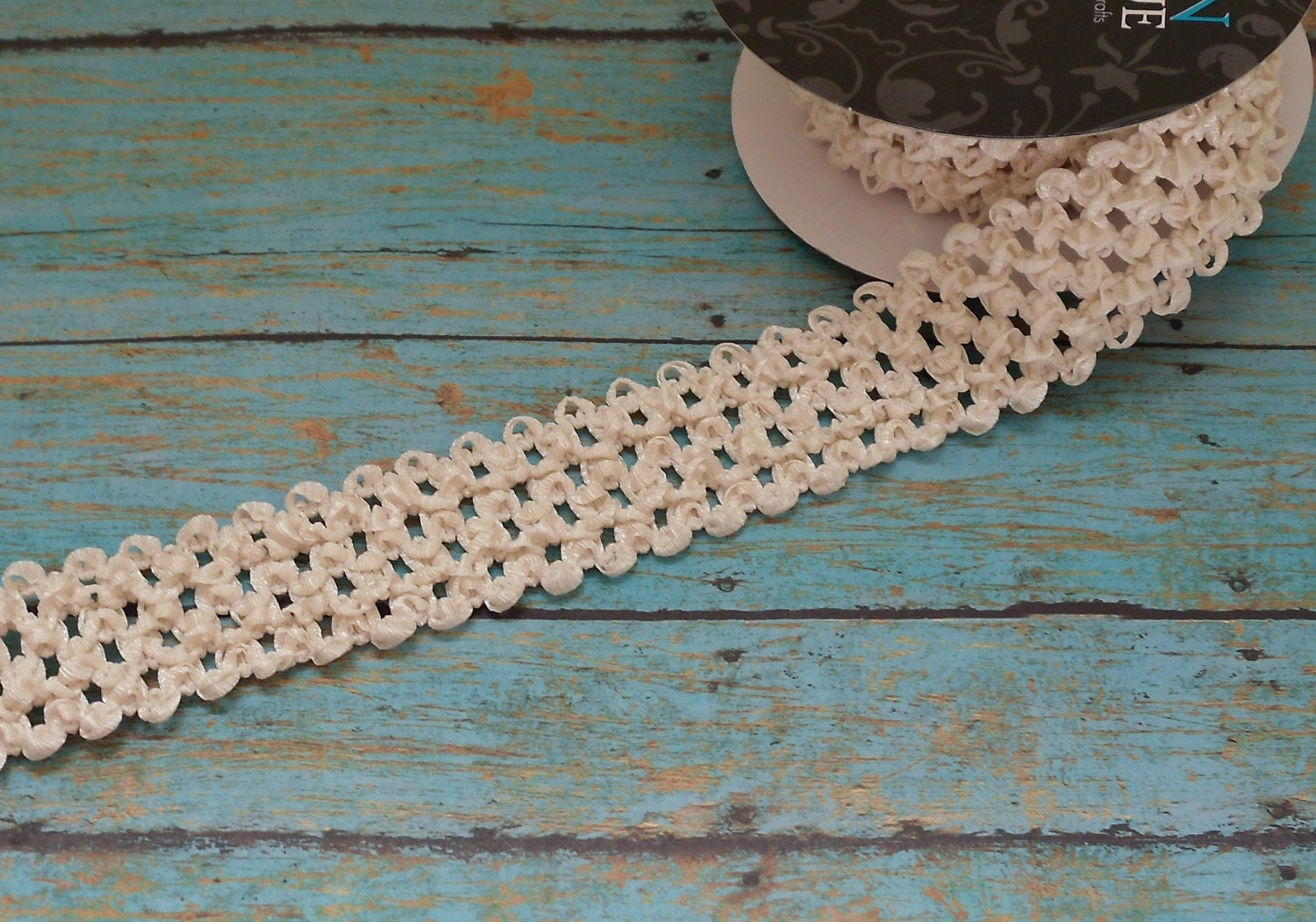 IVORY ELASTIC Waffle Crochet Ribbon 2 Yards 1.5 Inches
