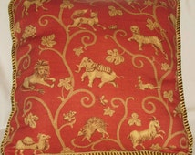 Country French Pillow Gold  Red Provence Cottage Provencal France Animal Toile Elephant Tiger