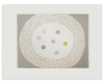 Large abstract screenprint, fine art original, neutrals, soft pastel colours, modern wall art, quality fine art paper, Emma Lawrenson.