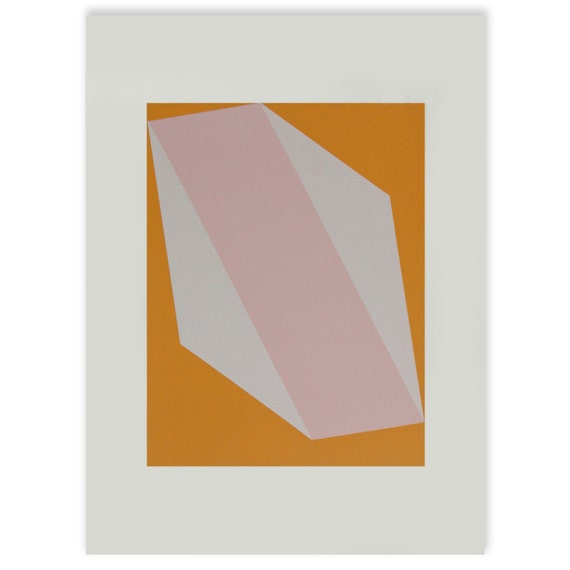 used on the set of Mad Men - a geometric pink and orange original limited edition handmade screenprint.