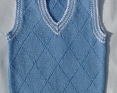 Vest/tank top/slipover for a baby boy in blue easy care yarn with white accents, age 0-6 months