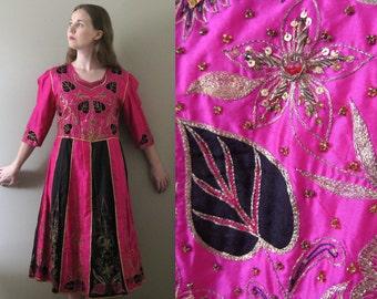 Vibrant Vintage 60s Boho Fuchsia Pink Silk Dress - Ethnic Tribal Hippie Bedouin Embroidered Hot Bright Magenta Black Satin Applique