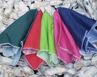Pin Dot Pocket Squares Available in Dark Green, Red, Lime, Pink and Navy Made With 100% Cotton