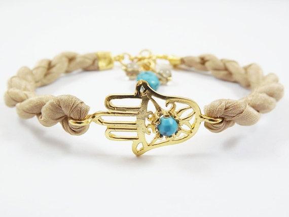 Hamsa - Hand of Fatima Silk Bracelet - Turquoise stone / Gold / Cream Silk