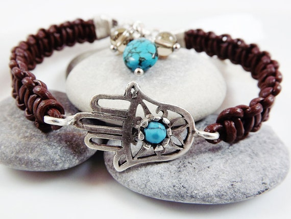 Hamsa - Hand of Fatima Macrame Braided Stacking Bracelet - Turquoise stone / Silver / Brown Leather Cord