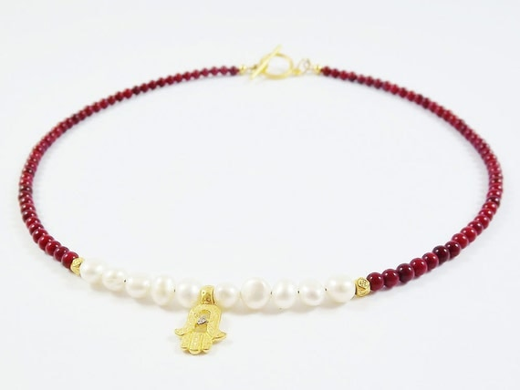 Delicate Hamsa Charm Necklace with Red Coral Beads & Freshwater Pearls