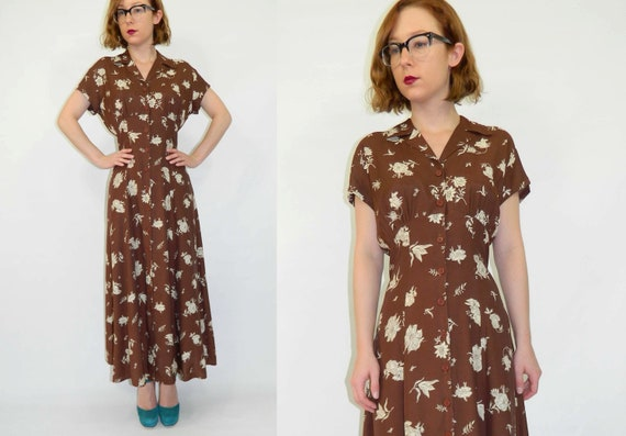 1940s Style Dress Brown Floral 1990s M/L