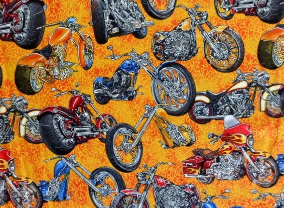 Motorcycle Quilting Fabric Motorcycle Chopper Biker