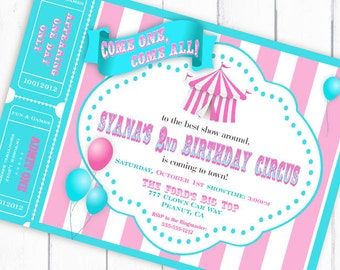 Circus Invitation Carnival Invitation Big Top Invitation with Tickets Balloons - Aqua and Pink Collection - Gwynn Wasson Designs PRINTABLES