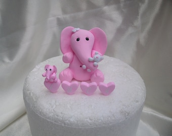 large Cute  baby elephant cake topper with personalization