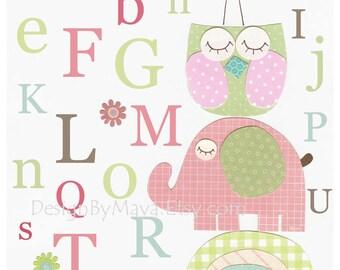 Baby girl, Nursery wall art print, Baby room decor, abc, baby owl, match the colors of Hayley bedding, pink, aqua,blue