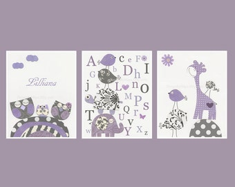 Wall Letters For Nursery Room in Purple: Set of 3 prints Nursery Letters Prints, Dahlia Nursery, Wall Letters For Baby Girl Room - Lavender