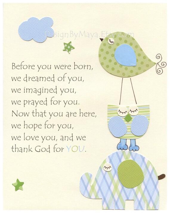 Baby Room Decor, Nursery Art,birds, before you were born, light blue, light green, eli elephant bedding set, baby room decor