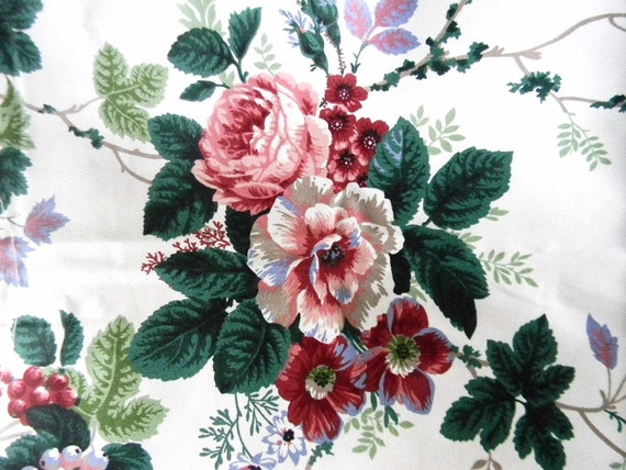 Waverly Pleasant Valley Cotton Fabric Roses By Willowtreasures