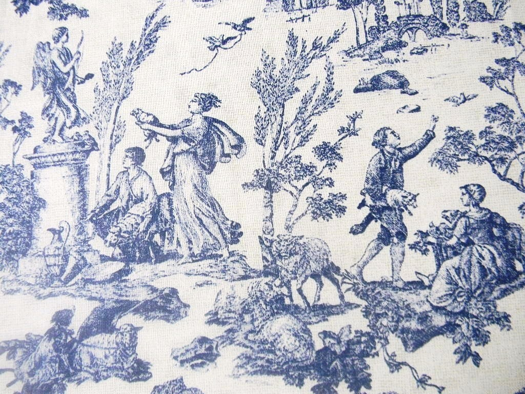 Mill creek french country toile fabric blue 1 yard for French toile fabric