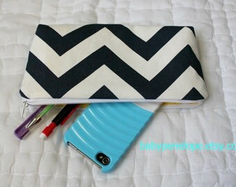 Pencil Case/Cosmetic Bag/ Gadget Case - Chevron - Navy