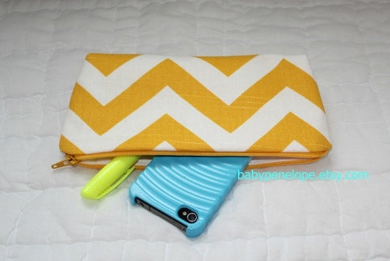 Pencil Case/Cosmetic Bag/ Gadget Case -Chevron - Yellow