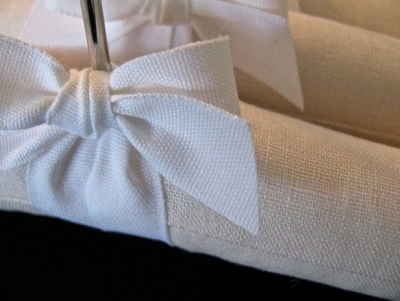 Pale Pink Linen Padded Hanger with Bleached White Organic Ribbon Accent (Set of 3)