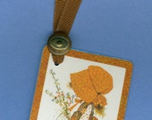 Bookmark HOLLY HOBBIE in Rust Handmade from Vintage Playing Card & Button with Grosgrain Ribbon