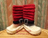 New - Buggs Mr. & Mrs. Santa Claus Christmas Booties - Pink Accent for Girls / Grey Accent for Boys - Pick Your Color