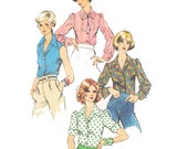 1970s Blouse Vintage Pattern - UNCUT and FF Simplicity 6161 - Misses Blouse Sewing Pattern/ Size 10